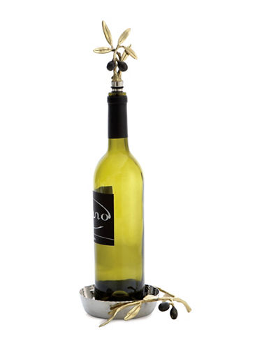 Michael Aram Olive Branch Two-Piece Wine Coaster and Stopper Set-GOLD-One Size