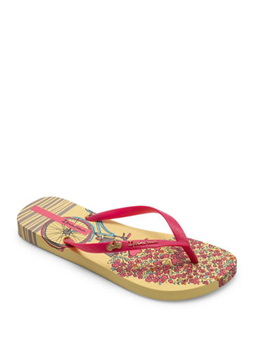 Ipanema Heart Applique Flip Flops-YELLOW/PINK-7