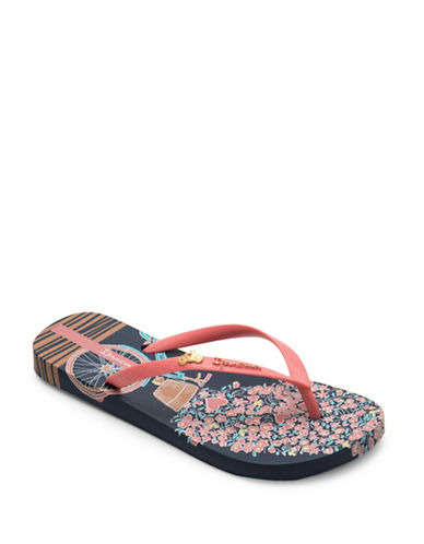 Ipanema Heart Applique Flip Flops-BLUE/PINK-10