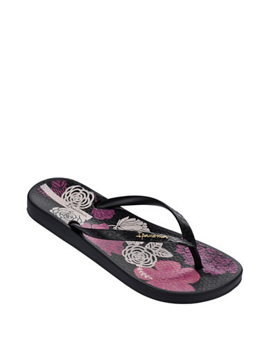 Ipanema Floral Bottom Flip Flops-BLACK-5