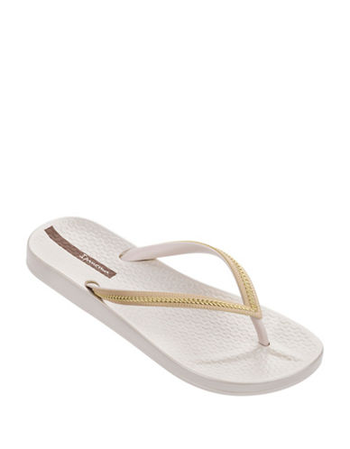 Ipanema Metallic Linked Chain Flip Flops-WHITE-8