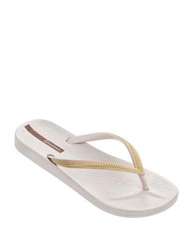 Ipanema Metallic Linked Chain Flip Flops-WHITE-9