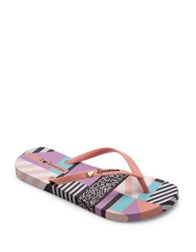 Ipanema Heart Applique Flip Flops-PINK/MULTI-8