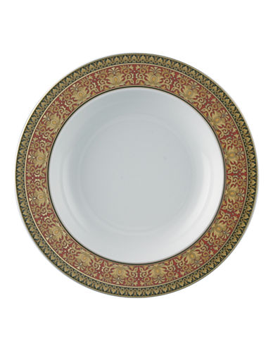 Versace Medusa Red Rim Soup Bowl-WHITE-8.5 Inches