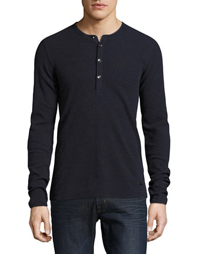 Boss Orange Topsider Woven Henley-BLUE-X-Large