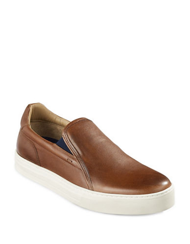 Boss Orange Leather Slip-On Shoes-BROWN-9