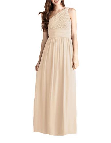 Donna Morgan Rachel One Shoulder Chiffon Dress-CHANTILLY-14