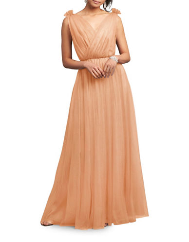Donna Morgan Emmy Tulle Surplice Gown-APRICOT-8