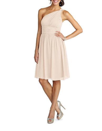 Donna Morgan Rhea One Shoulder Chiffon Dress-CHANTILLY-14