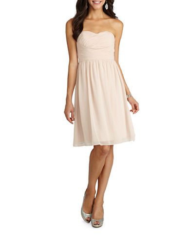 Donna Morgan Sarah Short Strapless Sweetheart Chiffon Dress-CHANTILLY-2