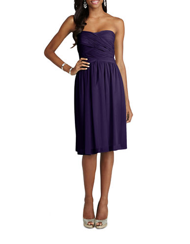 Donna Morgan Anne Strapless Chiffon Dress-AMETHYST-16