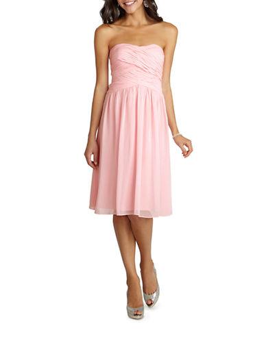 Donna Morgan Anne Strapless Chiffon Dress-BLUSH-16