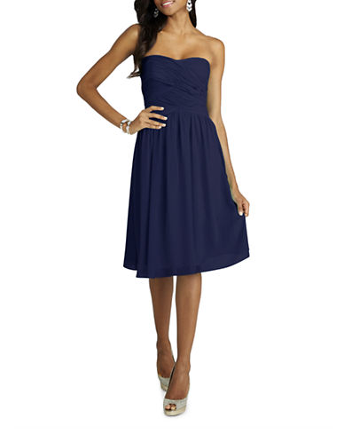 Donna Morgan Anne Strapless Chiffon Dress-MIDNIGHT-14