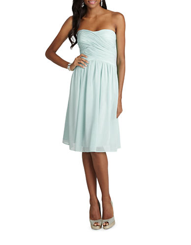 Donna Morgan Anne Strapless Chiffon Dress-BEACHGLASS-14