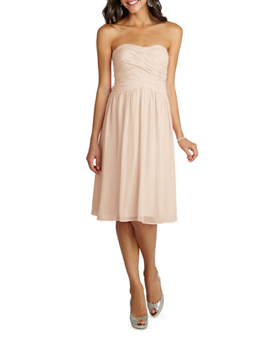Donna Morgan Anne Strapless Chiffon Dress-CHANTILLY-0