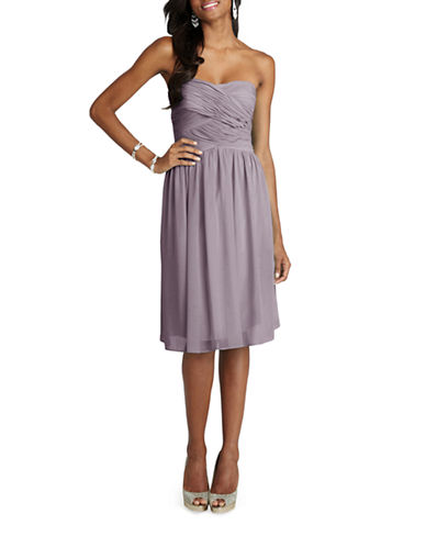 Donna Morgan Anne Strapless Chiffon Dress-GREY RIDGE-6