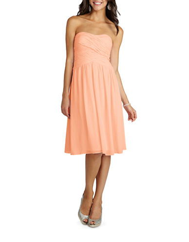 Donna Morgan Anne Strapless Chiffon Dress-PEACH FUZZ-14