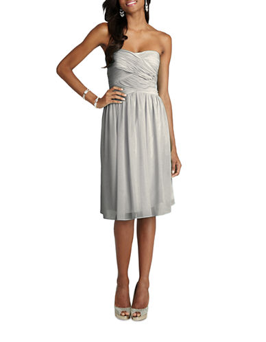 Donna Morgan Anne Strapless Chiffon Dress-STERLING-10