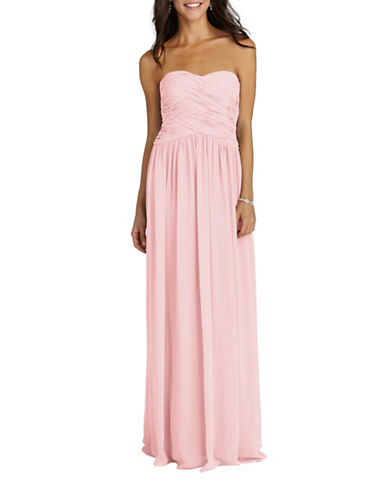 Donna Morgan Audrey Strapless Chiffon Dress-BLUSH-14
