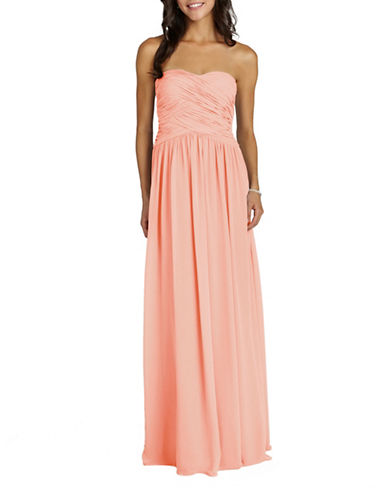 Donna Morgan Audrey Strapless Chiffon Dress-PEACH FUZZ-16