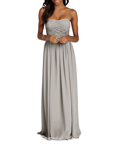 Donna Morgan Audrey Strapless Chiffon Dress-STERLING-6