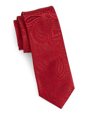 Arrow Jacquard Paisley Silk Tie-RED-One Size