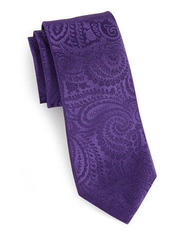 Arrow Jacquard Paisley Silk Tie-PURPLE-One Size