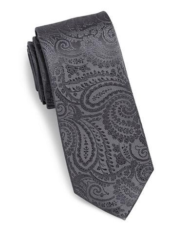 Arrow Jacquard Paisley Silk Tie-GREY-One Size