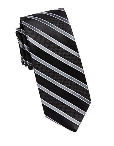 Arrow Stripe Silk Tie-BLACK-One Size