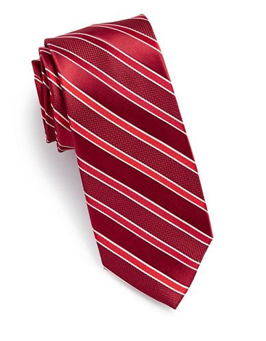 Arrow Stripe Silk Tie-RED-One Size