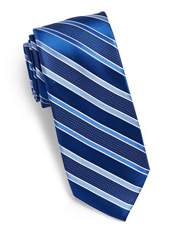Arrow Stripe Silk Tie-BLUE-One Size