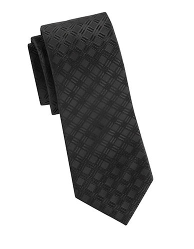 Arrow Jacquard Grid Silk Tie-BLACK-One Size