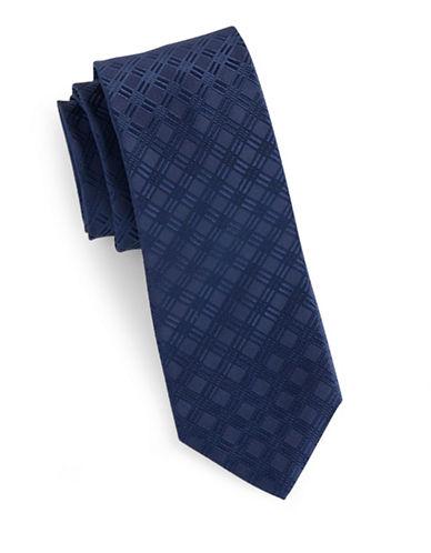 Arrow Jacquard Grid Silk Tie-NAVY-One Size
