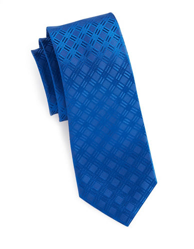 Arrow Jacquard Grid Silk Tie-BLUE-One Size