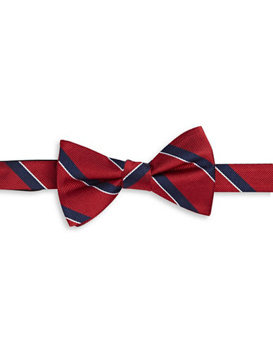 Tommy Hilfiger Striped Silk Bowtie-RED-One Size