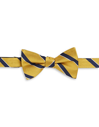 Tommy Hilfiger Striped Silk Bowtie-YELLOW-One Size
