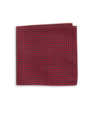 Tommy Hilfiger Gingham Silk Pocket Square-RED-One Size