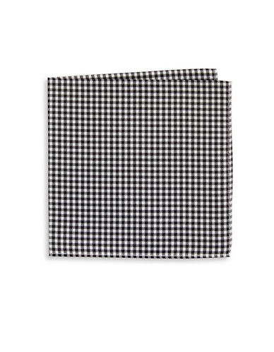 Tommy Hilfiger Gingham Silk Pocket Square-BLACK-One Size