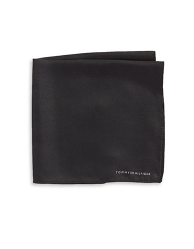 Tommy Hilfiger Solid Silk Pocket Square-BLACK-One Size