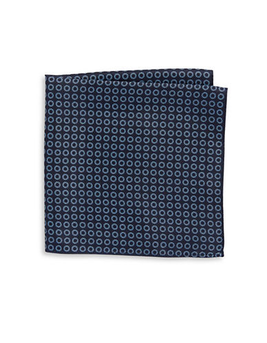 Tommy Hilfiger Neat Print Silk Pocket Square-NAVY-One Size