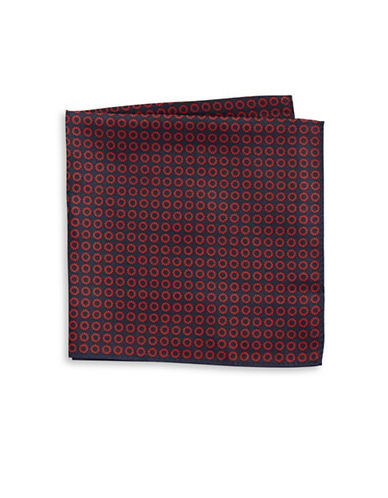 Tommy Hilfiger Neat Print Silk Pocket Square-RED-One Size