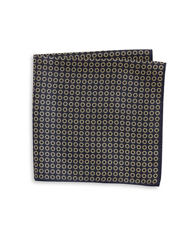 Tommy Hilfiger Neat Print Silk Pocket Square-YELLOW-One Size