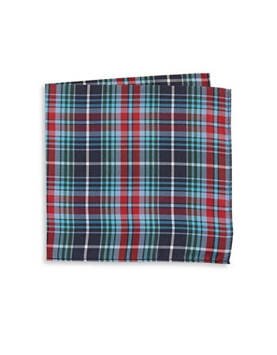 Tommy Hilfiger Plaid Silk Pocket Square-RED-One Size
