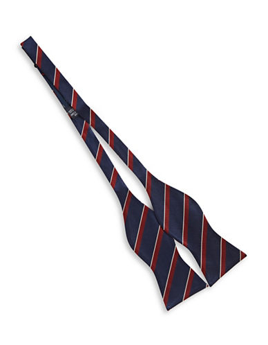 Tommy Hilfiger Striped Silk Bowtie-NAVY-One Size
