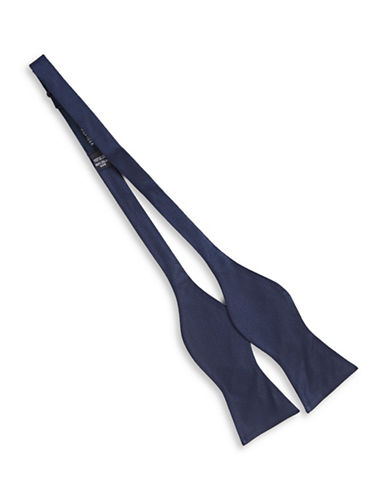 Tommy Hilfiger Solid Silk Bowtie-BLUE-One Size