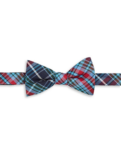 Tommy Hilfiger Plaid Silk Bowtie-RED-One Size