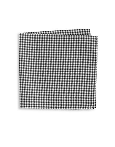 Tommy Hilfiger Gingham Silk Pocket Square-BLUE-One Size
