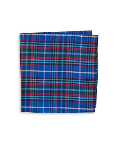 Tommy Hilfiger Plaid Silk Pocket Square-BLUE-One Size