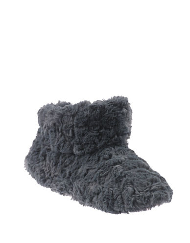 Isotoner Textured Faux Fur Boot Slippers-GREY-Small