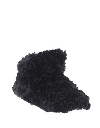 Isotoner Textured Faux Fur Boot Slippers-BLACK-Small
